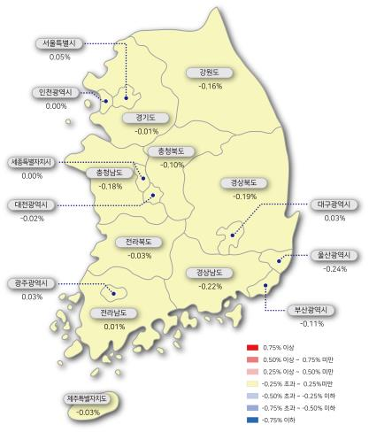 전국 아파트 매매가격 변동률 [한국감정원 제공]