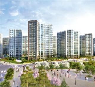 경기 김포시 고촌읍에 들어서는 캐슬앤파밀리에시티 2차 전용 84㎡A 거실(왼쪽)과 조감도. /신동아건설 제공