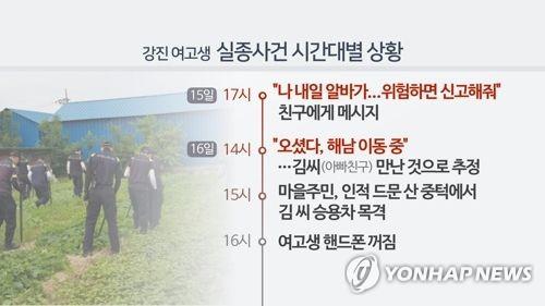 강진 여고생 실종사건 시간대별 상황-1(CG) [연합뉴스TV 제공]