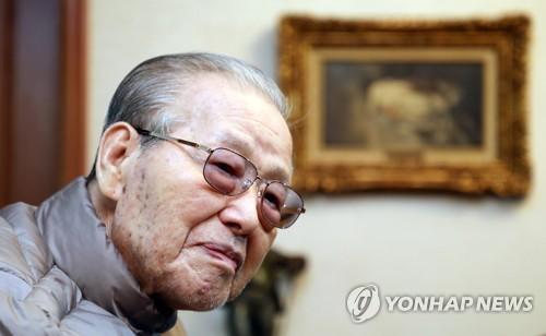 지난 4월 신당동 자택에서의 김종필 전 국무총리  [연합뉴스 자료사진]