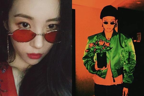 틴트 선글라스를 쓴 가수 선미(왼쪽)과 사이파이 선글라스를 쓴 가수 지드래곤. /사진=선미·지드래곤 인스타그램
