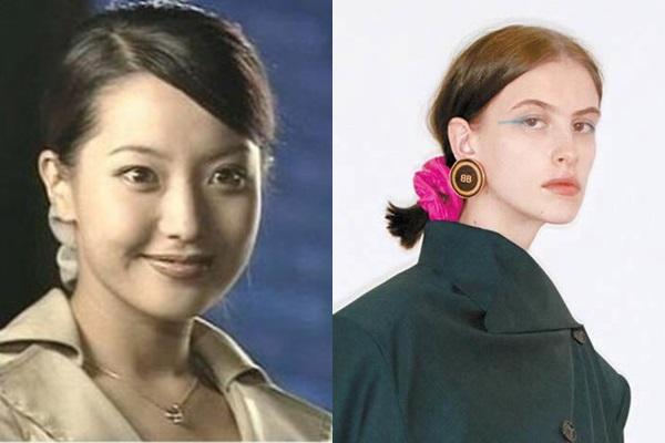 90년대 김희선이 착용한 곱창밴드(왼쪽)과 2018 발렌시아가 쇼에 등장한 곱창밴드/사진=SBS 방송화면 캡처·발렌시아가 홈페이지