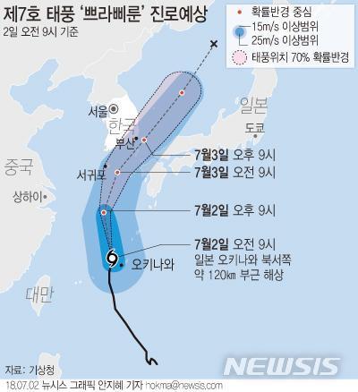 【서울=뉴시스】안지혜 기자 = 기상청에 따르면 태풍 '쁘라삐룬'은 2일 오전 3시 현재 일본 오키나와 서쪽 해상에서 시속 13㎞ 속도로 북상 중이다.  hokma@newsis.com