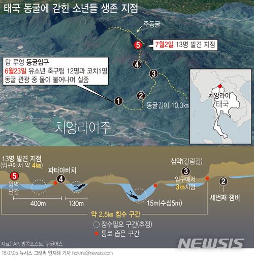 """태국 동굴고립 13명 중 3명 탈진상태..구조대 """"시간과의 싸움"""""""