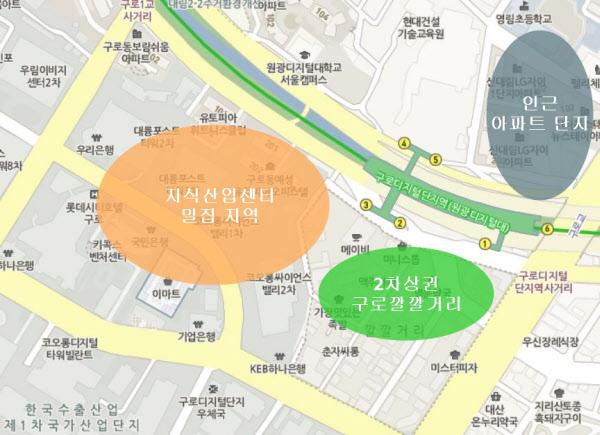 1차 상권은 지식산업센터가 밀집된 지역에 형성돼 있다. /네이버 지도