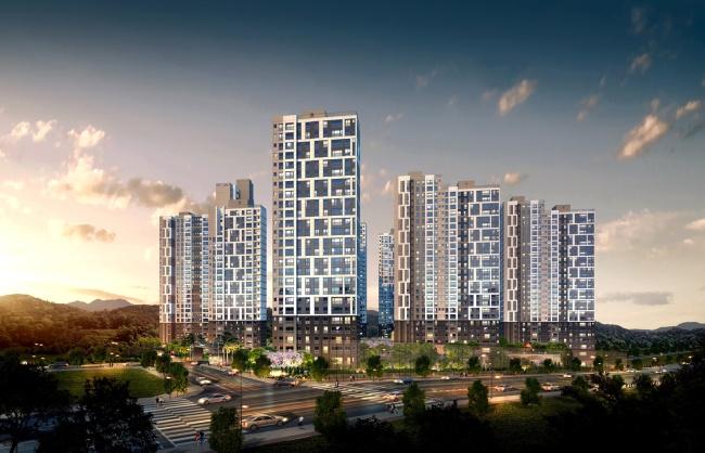 '올인빌' 아파트 마케팅 적극 펼치는 '당진 수청 한라비발디캠퍼스' 투시도.