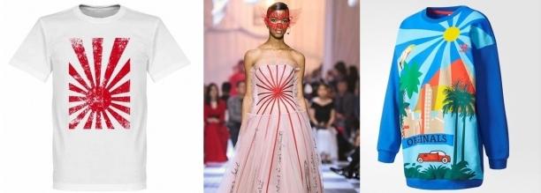 피파 공식 홈페이지에서 판매되고 있는 욱일기 티셔츠와 2018 디올 패션소에 등장한 드레스, 아디다스가 판매중인 티셔츠(왼쪽부터). [사진 각 회사]