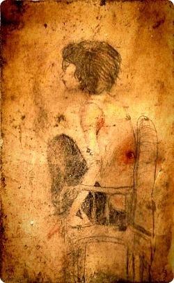 그가 천안함에서 그린 그림 중 하나. 노희경 작가의 책 <지금 사랑하지 않는 자, 모두 유죄>의 표지를 베껴 그렸다. 천안함과 함께 바다에 가라앉았다가 인양 뒤 되찾았다. 최광수 제공