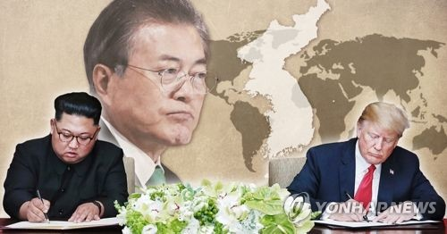 문재인 대통령, 북미정상 약속 주시 (PG) [제작 최자윤] 사진합성, 일러스트