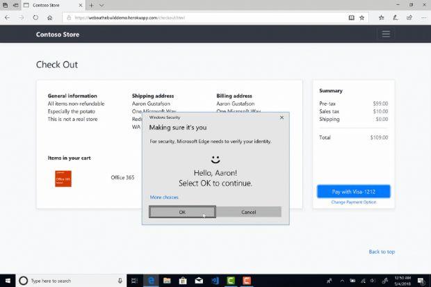 MS가 윈도인사이더프리뷰 버전에 포함된 MS엣지 브라우저로 Web Authentication API를 활용한 온라인쇼핑몰 결제서비스를 시연한 모습 한 장면.