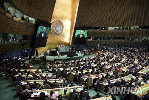 25일(현지시간) 미국 뉴욕 유엔본부에서 유엔총회 연설을 하고 있는 도널드 트럼프 미국 대통령 [신화=연합뉴스]