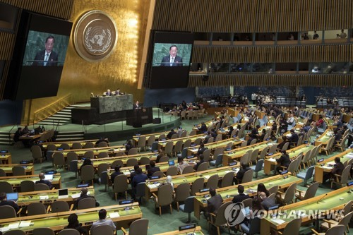 유엔 기조연설을 하는 리용호 북한 외무상 [AP=연합뉴스]