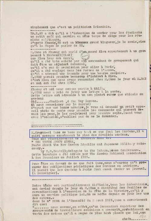 """(파리=연합뉴스) 김용래 특파원 = 재불 독립운동사학자 이장규 씨는 프랑스 국립해외영토자료관(ANOM)을 뒤져 1919~20년 프랑스 파리의 정보경찰관이 작성한 동향보고 문건을 발견했다. 파란 선 안에 """"응우옌 아이 꾸옥(호찌민)은 한국인들이 하는 모든 일을 자신의 근거로 삼고 있다. 그는 (일제에) 저항하는 한국인의 계획을 거의 똑같이 따르고 있다""""고 적었다. 또한 """"호찌민이 하려는 것에 대비하려면 미국에서 한국인들이 펴낸 간행물들을 살펴봐야 한다. 파리의 한국인들도 간행물을 창간하려는 것 같다""""고 기술했다.  [파리 7대 박사과정 이장규씨 제공/프랑스국립해외영토자료관 소장자료] 2018.9.30."""
