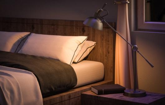 어두운 조명의 침실