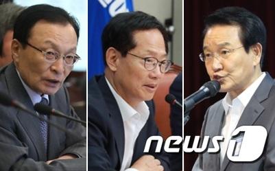 민주당 이해찬 대표와 충북 4선 중진인 오제세, 변재일 의원.(왼쪽부터) © News1