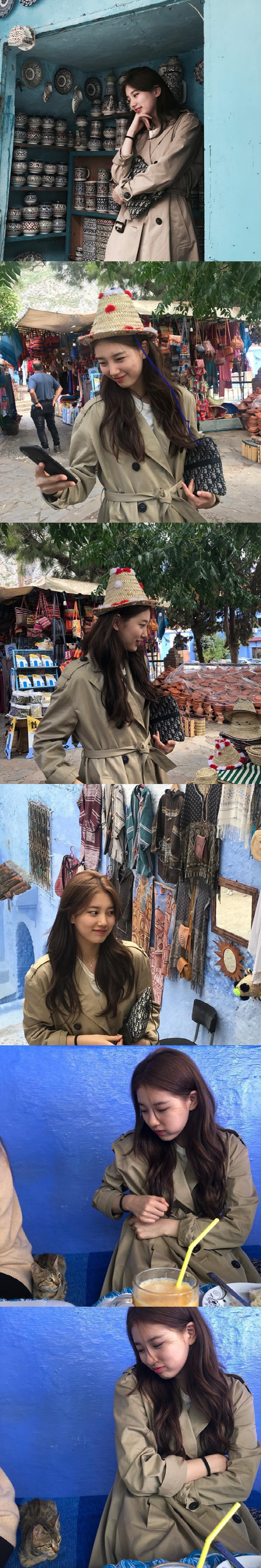 <p>Bae Suzy on his SNS on the 11th, go to go. I uploaded several photos of my trip to Morocco with articles like Pretty Hinds and. Twins.</p><p>In the photo, Bae Suzy showed a dazzling visual in a trench coat. Morocco Walking around the village of Chefchaouen in Morocco, famous for being painted blue all over with a traditional hat, I also got acquainted with Cat.</p><p>Bae Suzy is staying in Morocco, a new drama Bye Bond shooting car with Lee Seung-ki. Bae Suzy will take charge of action intelligence by serving as an assistant manager of NIS Black and Harry.</p>