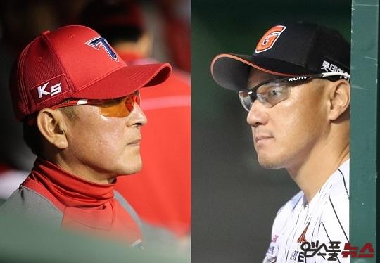 KIA 김기태 감독(왼쪽)과 롯데 조원우 감독(오른쪽)은 시즌 마지막까지 5위 자리를 놓고 다툴 분위기다(사진=엠스플뉴스)
