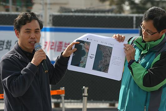 ▲ 김판태 대표가 키 리졸브 훈련의 내용을 설명하고 있다. 사진=참세상 제공