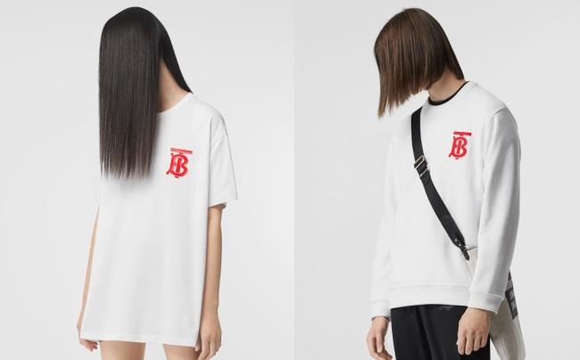 버버리가 지난 17일 오후 8시부터 판매를 시작한 화이트 토마스 버버리 모노그램 티셔츠와 스웨트 셔츠. [사진=버버리 인스타그램 공식 계정]