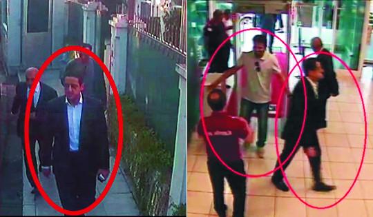 무함마드 빈 살만 사우디아라비아 왕세자의 경호원으로 알려진 마헤르 압둘아지즈 무트레브가 지난 2일 이스탄불의 사우디 영사관 앞을 지나고 있다. 2일은 자말 카슈끄지가 영사관에 들어가 살해된 날이다. 오른쪽 사진은 무트레브와 다른 남성이 이스탄불 국제공항 보안검색대를 통과하는 모습. 두 사람 모두 카슈끄지 살해 용의자들이다. AP뉴시스