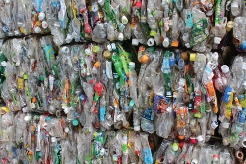 재활용되는 플라스틱 병들.
