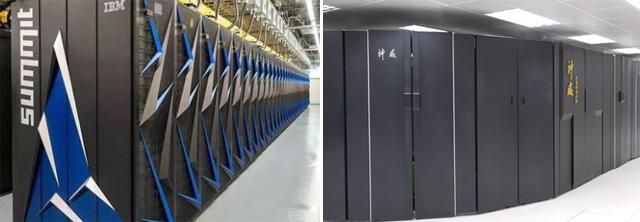 세계에서 가장 빠른 미국의 슈퍼컴퓨터(좌)/중국이 새로 개발한 엑사플롭스급 슈퍼컴퓨터(우)