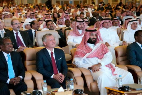 미래투자이니셔티브에 참석한 무함마드 빈 살만(앞줄 오른쪽) 사우디 왕세자. 연합뉴스