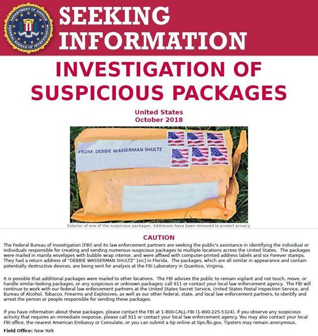 미국 연방수사국(FBI)이 25일 공개한 폭발물 발송자 추적을 위한 시민의 도움을 요청하는 포스터. AP 연합뉴스