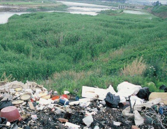 1992년 쓰레기가 쌓여 있는 순천만의 모습. [사진 순천시]