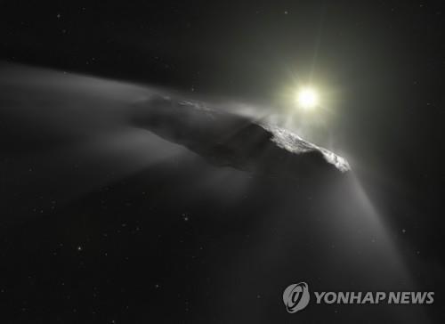 태양계에서 처음 관측된 성간 천체 '오무아무아' 상상도 [AFP=연합뉴스]