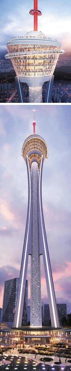 자광건설이 전주시 완산구 대한방직 부지에 지으려는 높이 430m '익스트림 타워' 조감도. 타워 상층부(위 사진)에는 일대를 조망할 수 있는 전망대가 들어선다. 자광건설은 이 타워 중심으로 주변에 20층 규모의 관광호텔, 15층 유스호스텔, 3000가구 규모의 아파트 9개 동, 그리고 대규모 쇼핑·상업시설까지 지을 계획이다. /자광건설