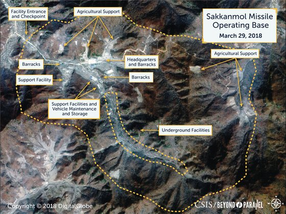 CSIS가 11일 발표한 북한의 '삭간물 미사일 기지' 관련 보고서에 나오는 삭간몰 위성사진