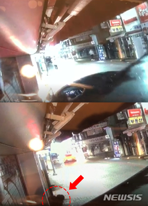 【서울=뉴시스】지난 10일 서울 성북구 성신여대역 인근에서 A씨가 전 여자친구 폭행을 신고하려던 시민을 끌고 차량 운전을 하다 건물 기둥에 부딪히는 모습(위)과 쓰러진 B씨 모습(아래 동그라미). 아래 사진에서 그냥 가버리는 노란색 A씨 차량이 보인다. 2018.11.15.