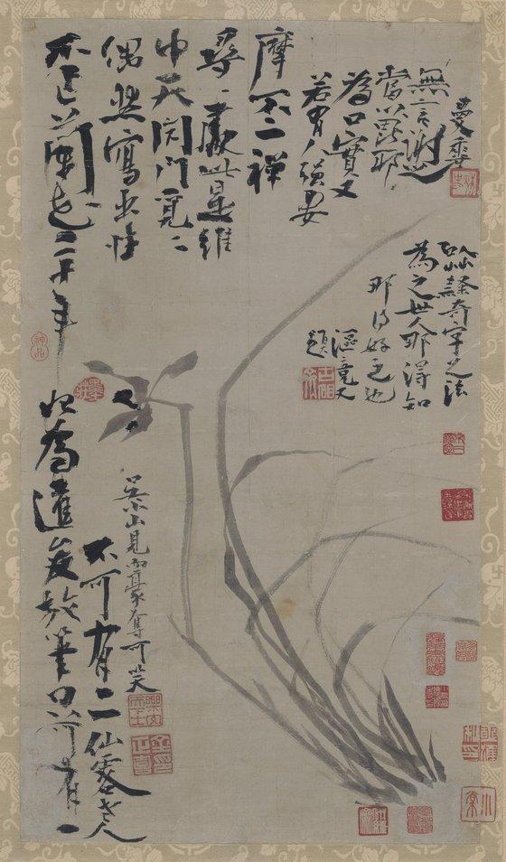 손창근씨가 21일 국립중앙박물관에 기증한 추사 김정희(1786~1856)의 '불이선란도'. [연합뉴스]