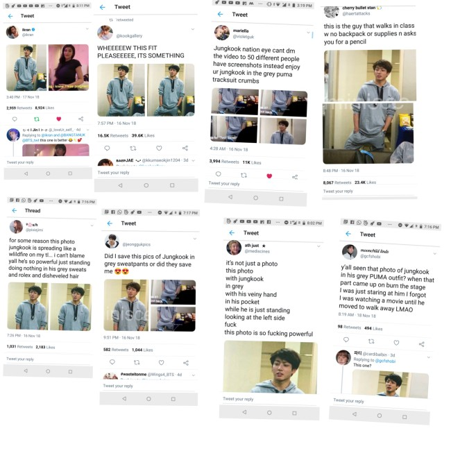 <p>The documentary film, once more stage: the movie>last 15 days around the world in over 70 countries in the same time youre after a big reaction coming out. Movies at BTS of 'blood sweat tears'I can see a good reaction.</p><p>Then there are the BTS of the youngest Jungkook, this is a casual style grey sweatshirt, with the blonde in the blue shirt is the look and many of them seem to be interested in. His charisma and visuals for the compliment to.</p><p>In the film, Jungkook of amount is not so much in spite of the gray sweatshirts wearing Jungkooks cool look by means of their reaction is hot.</p><p>Twitter Inc. Other SNS are not many they Jungkook this is a gray sweatshirt to wear all year and cheers. Watching a movie and Jungkook this wonderful look of tremendous cheers.</p>