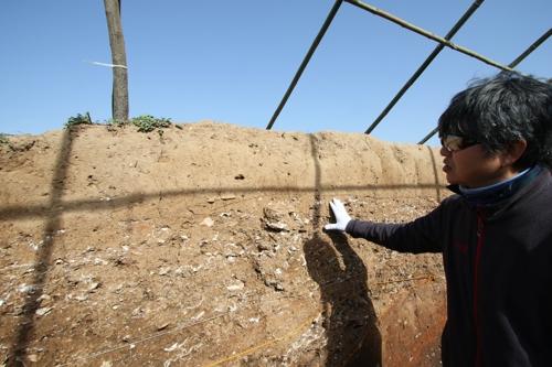 (해남=연합뉴스) 박상현 기자 = 김영훈 목포대 박물관 학예연구사가 28일 해남 군곡리 패총 발굴조사 성과를 설명하고 있다.