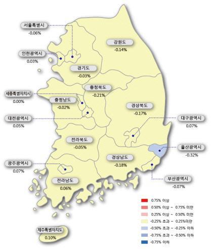 지역별 주간 아파트값 동향 [한국감정원 제공] / 연합뉴스