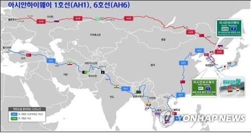 한국을 지나는 아시안하이웨이 1번(아래)과 6번(위). [한국도로공사 제공]