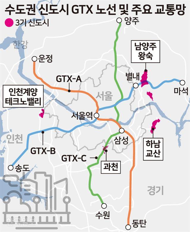 [저작권 한국일보]  수도권 신도시 GTX 노선 및 주요 교통망 /송정근 기자
