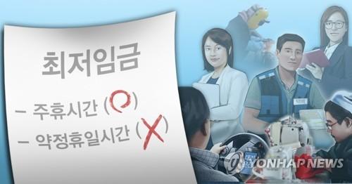 최저임금 산정 주휴시간 포함·약정휴일 제외(PG) [이태호, 정연주 제작] 사진합성·일러스트