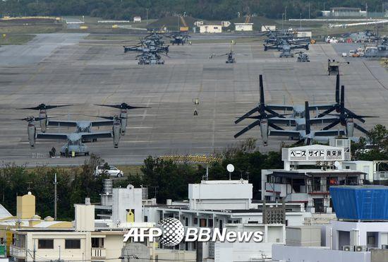 2014년 11월14일에 촬영된 오키나와현 기노완시에 위치한 미 후텐마 공군 기지 /AFPBBNews=뉴스1