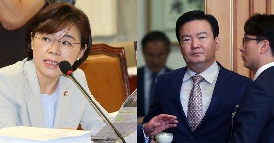 자유한국당 김정재 의원(왼쪽)과 민경욱 의원. [중앙포토]