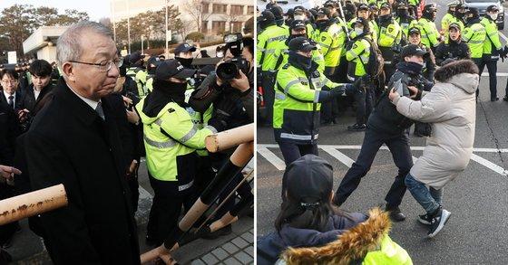 양승태 전 대법원장(왼쪽). 오른쪽 사진은 11일 기자회견 때 양 전 대법원장의 차량으로 접근하려는 시민을 경찰이 저지하는 모습 [뉴스1]
