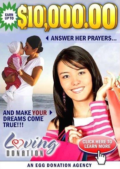 """한 대리모 중개업체의 광고 포스터. """"1만 달러(약 1118만원)를 벌 수 있습니다. 그녀의 기도에 응답하세요. 당신의 꿈을 이루세요""""라고 쓰여있다. [사진 LovingDonation]"""