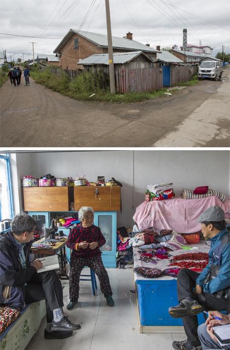 중국과 러시아 국경에 자리한 최북단 한인 마을이자 독립운동 기지 배달촌이 있던 자리에는 오늘날 중국인 마을이 들어서 있다(위쪽 사진). 시가가 배달촌에 있던 재중 동포 유옥자 씨(아래쪽 사진 왼쪽에서 두 번째)가 지난해 9월 독립기념관 독립운동사연구소 조사단과 이야기를 나누고 있다. 독립기념관 독립운동사연구소 제공