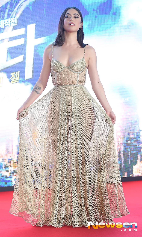Rosa Salazar, first light after dazzling Nude mesh dress