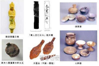 기쿠치성 저수지에서 출토된 유물들.|야노 유스케의 논문에서