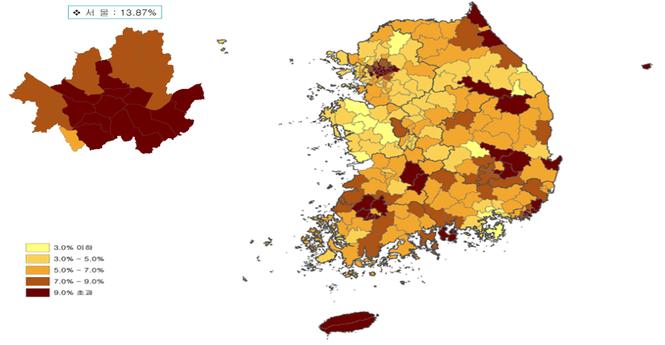 2019년 표준지 공시지가 지역별 인상률 지도 /국토교통부