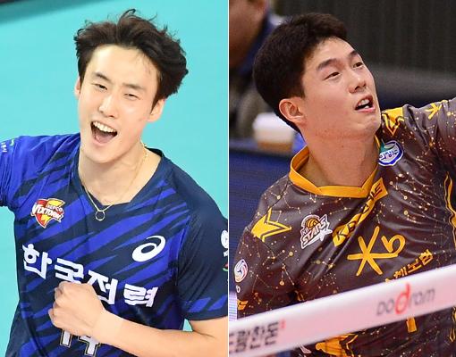 한국전력 최홍석(왼쪽)-KB 손해보험 정동근. 사진|KOVO·스포츠동아DB