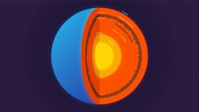 지구의 지각과 맨틀(주황색), 전이대(상·하부 맨틀간 고동색), 핵(노란색) [프린스턴 대학 카일 맥커넌 제공]